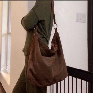 Lucky Brand large hobo suede leather bag purse